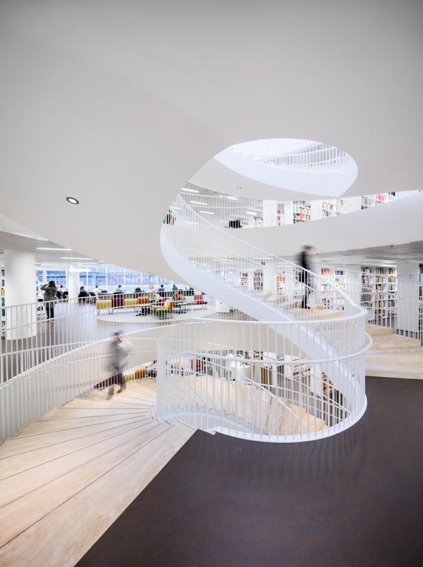 Main staircase., Helsinki University Main Library Kaisa