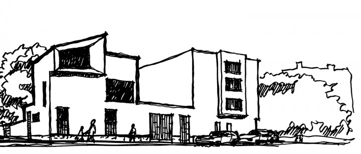Sketch drawing, Three Infill Apartments