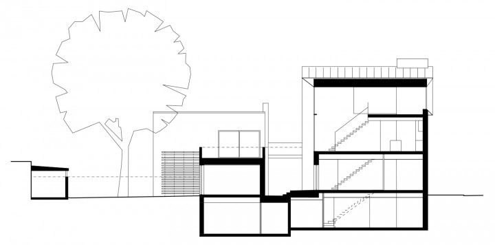 Section, Three Infill Apartments
