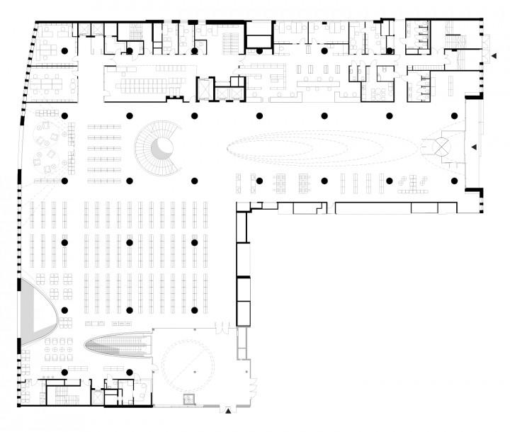 2nd floor, main library floor, Helsinki University Main Library Kaisa