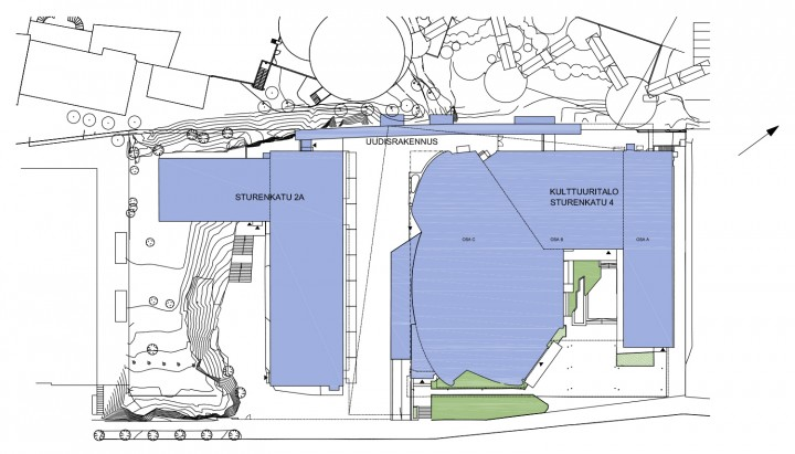 Site plan with the adjacent , House of Culture