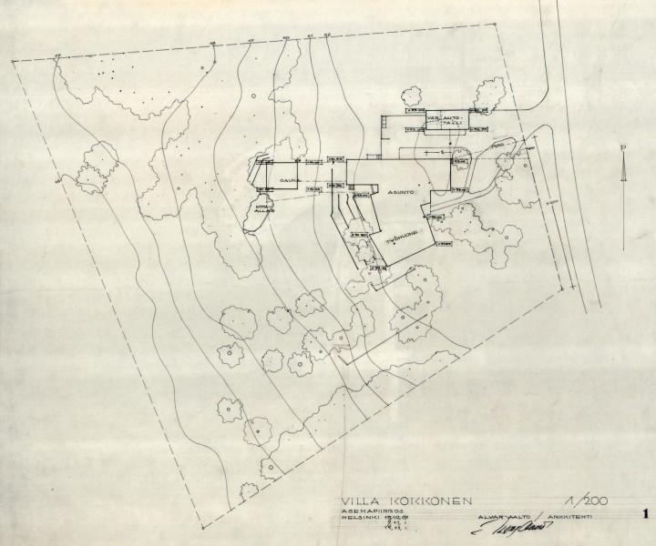 Site plan, Villa Kokkonen
