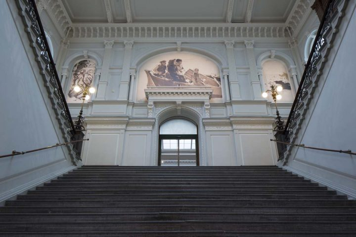 Main stairs leading from entrance lobby to exhibition spaces, Ateneum Art Museum