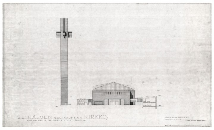 West elevation and section, Cross of the Plains Church (Lakeuden risti)