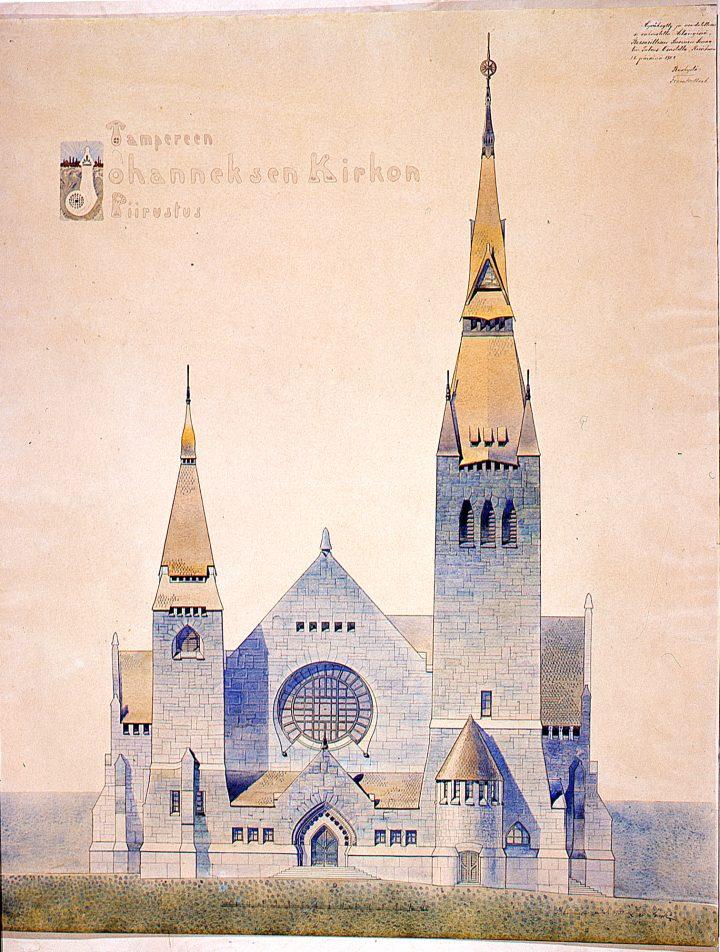 Original drawing, Tampere Cathedral