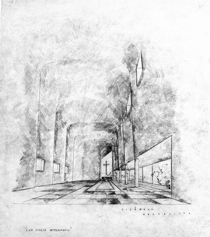 Interior perspective for the second phase of the competition, Resurrection Chapel