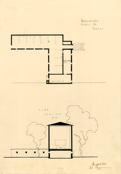 Lower floor (mortuary) plan and section, Parainen Funerary Chapel