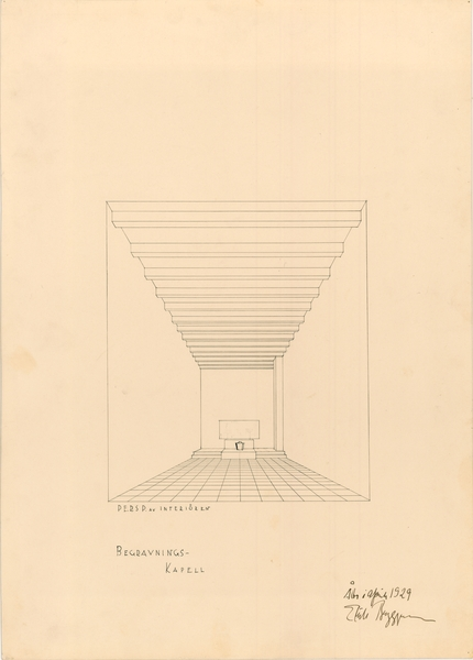 Perspective drawing of the interior, Parainen Funerary Chapel
