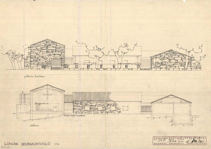 Elevation plan, Lohja Parish Hall