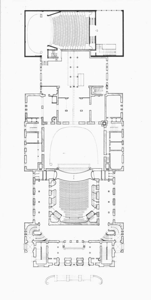 Floor plan showing the original theatre building by Onni Tarjanne and the extension by Heikki and Kaija Siren , Finnish National Theatre
