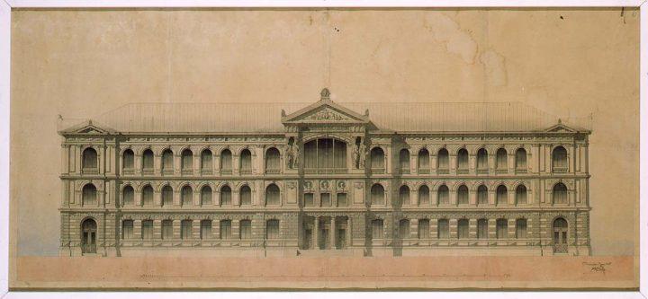 Original drawing of main façade, Ateneum Art Museum