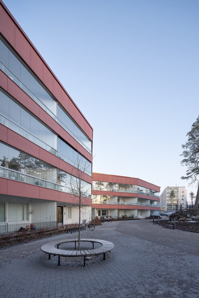 Courtyard side, Heka Koirasaarentie 36 Affordable Housing