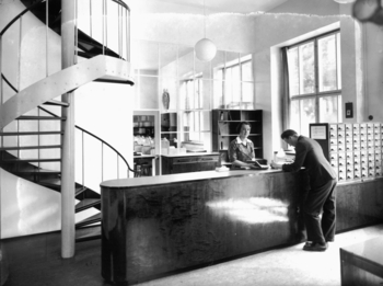 Librarian's desk and staircase to the book repositories, Åbo Akademi Book Tower
