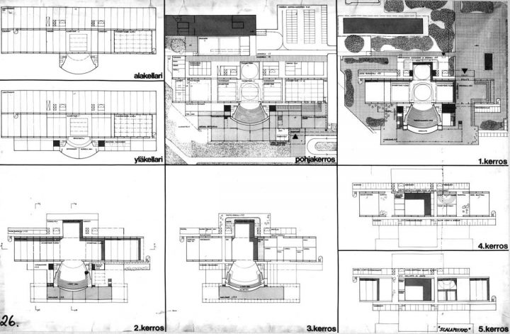 Competition entry floor plans, Finnish National Opera