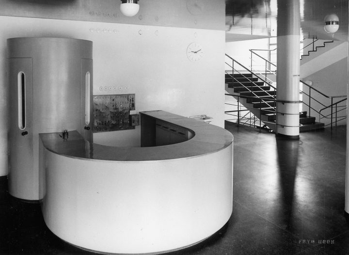 Reception desk, telephone booth and main staircase, Vierumäki Sports Institute