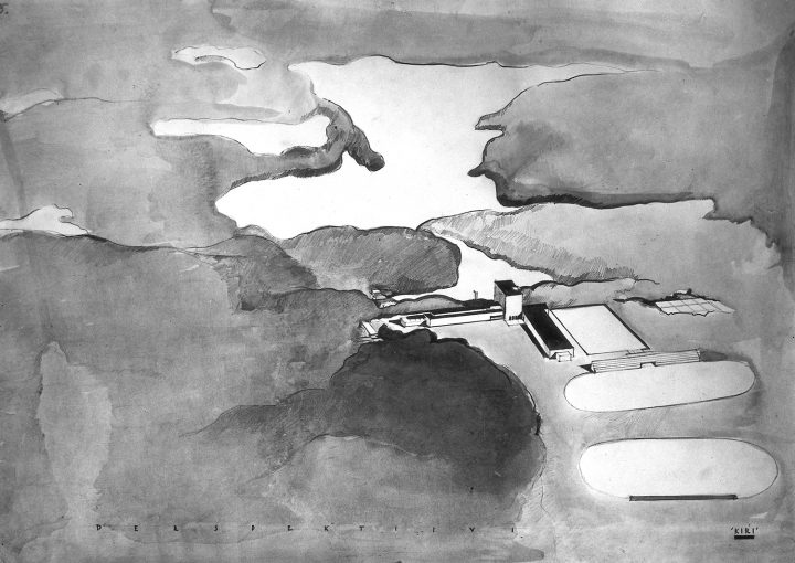 Competition entry perspective drawing, Vierumäki Sports Institute