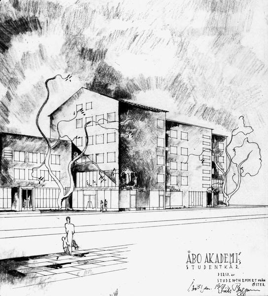Perspective drawing, Kåren Student Union Building