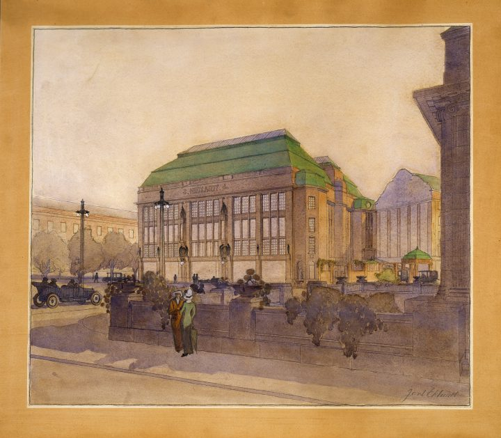 Original perspective drawing, Nikolayeff Commercial Building