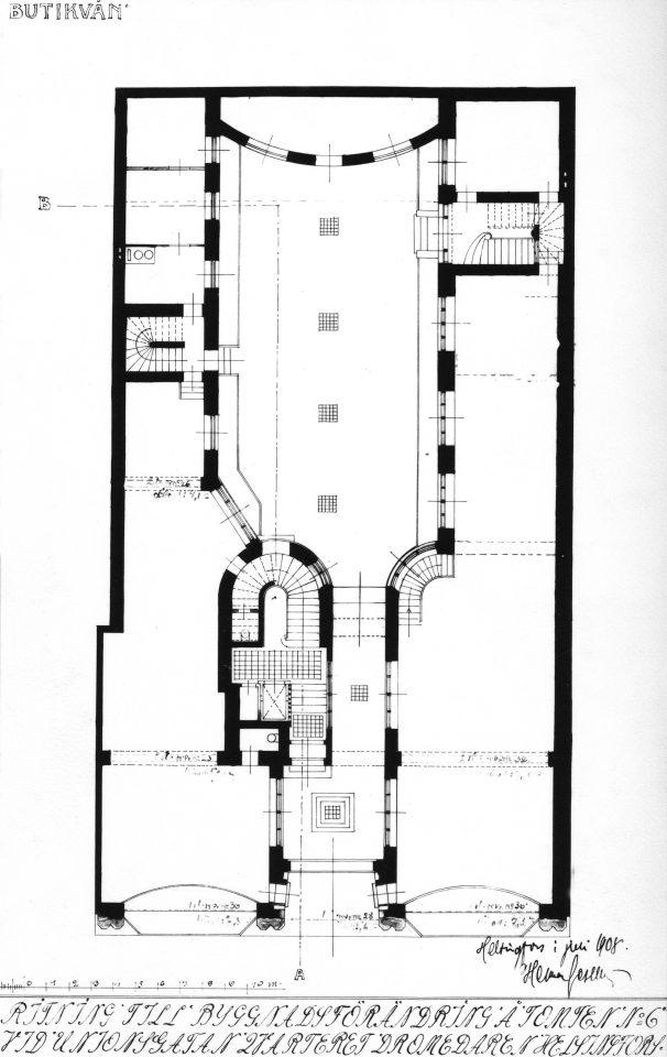 Floor plan of the ground floor, Wuorio Commercial Building