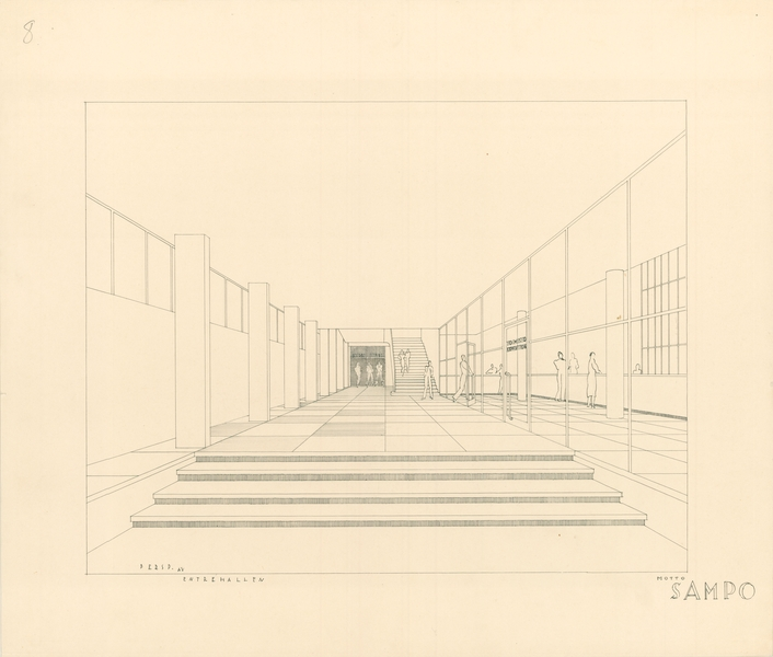 Competition entry perspective drawing of the entrance corridor, Sampo House