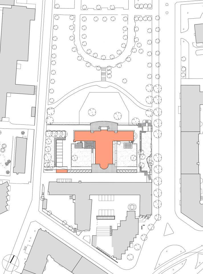 Site plan, Töölö Church
