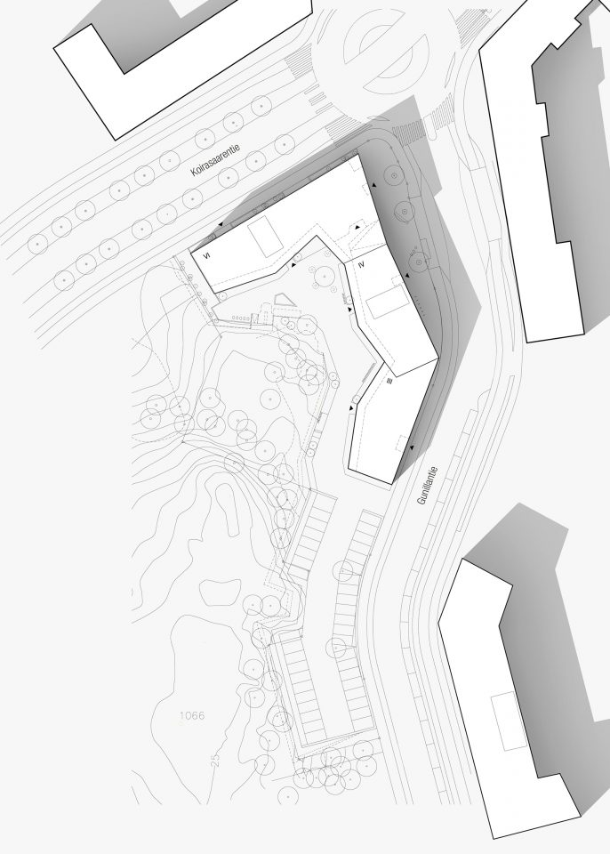 Site plan, Heka Koirasaarentie 36 Affordable Housing