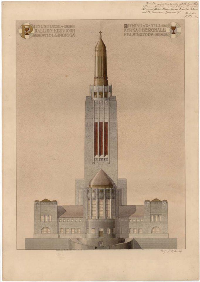 Original drawing of main façade, Kallio Church