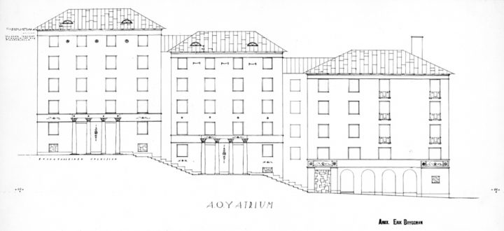 Drawing of the façade on the side of the stepped piazza, Atrium Apartment Building