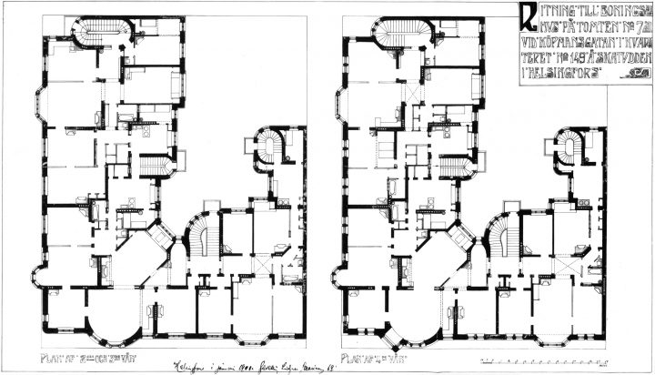 Floor plans of second, third and fourth floors, Olofsborg