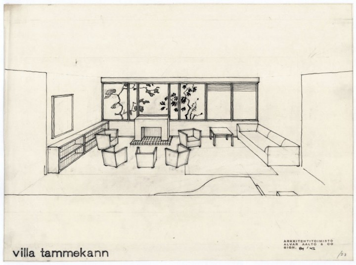 Perspective drawing of the living room by Alvar Aalto, Villa Tammekann