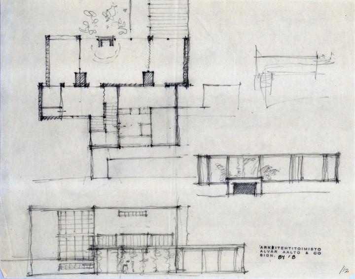 Alvar Aalto's sketch, Villa Tammekann