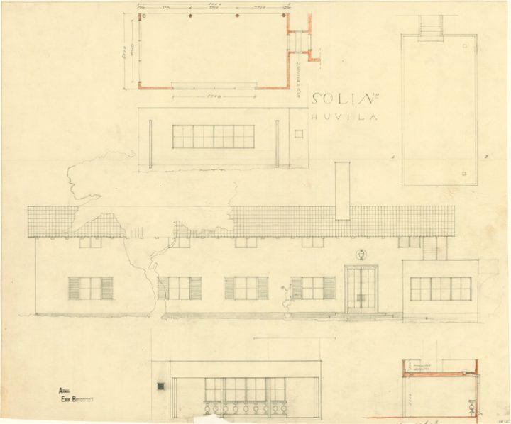 Façade sketches, Villa Solin
