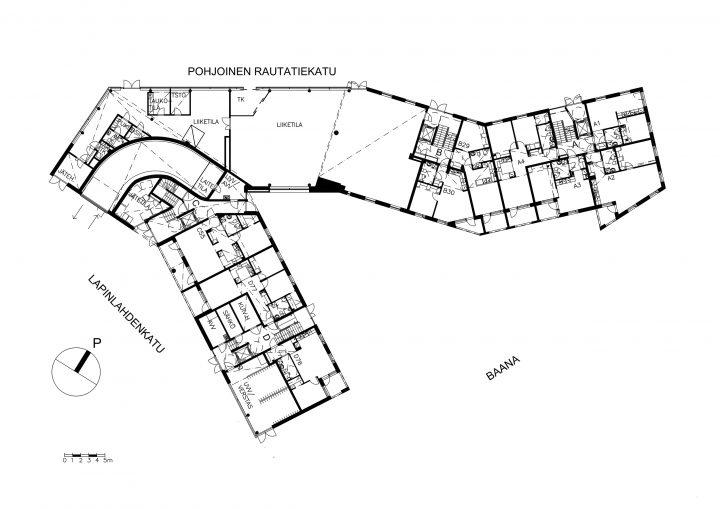 Street level, Kampin Helmi Senior Housing