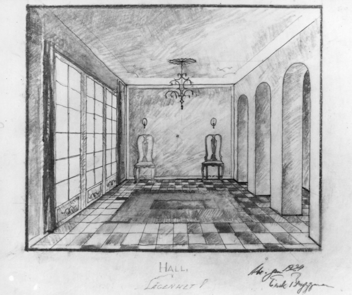 Perspective drawing of Bryggman's own apartment's entrance hall, Brahenkatu 9 Apartment Building