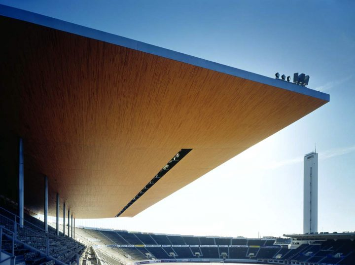 East stand canopy from 2005 by K2S architects, Olympic Stadium