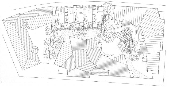 Site plan with Vallila Library and Daycare Centre, Runopuisto terraced house
