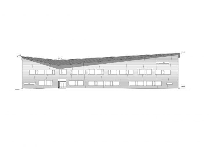 West elevation, Mansikkamäki School