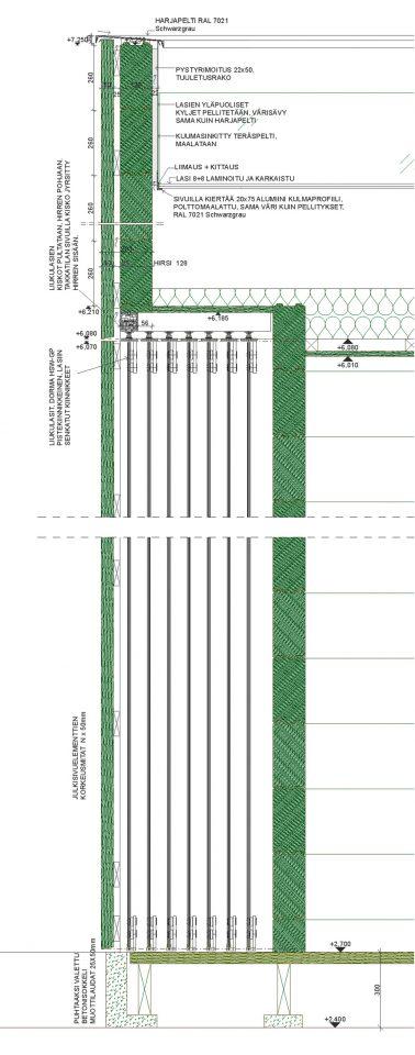 Vertical detail of log frame and sliding glass walls, Café Birgitta