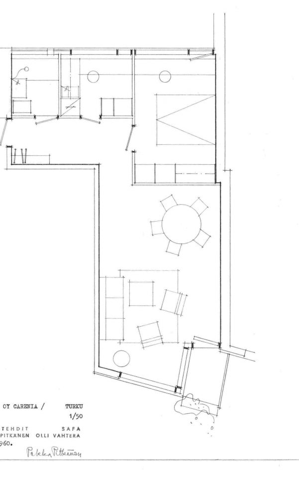 One of the several different floor plans of the apartments in the housing complex, Carenia & Linnankatu 8 Housing