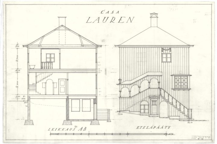 Section and south facade, Casa Lauren