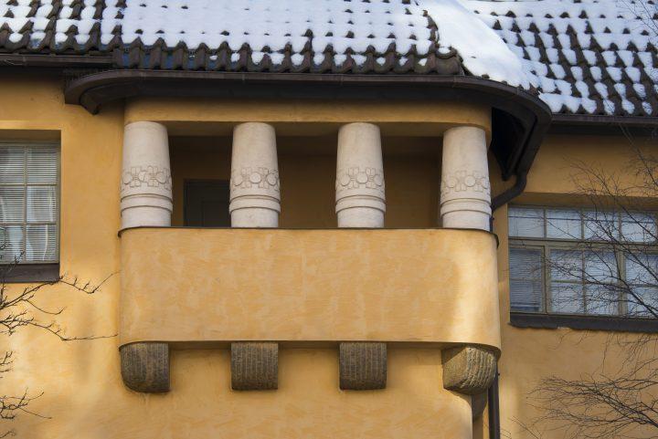 A detail of the street façade, Eira Hospital