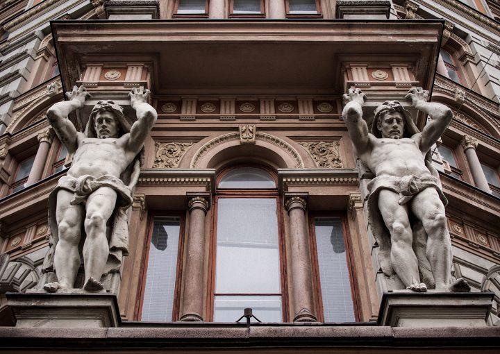 The male caryatids of the main façade, Erottajankatu 2 Neo-Renaissance Building