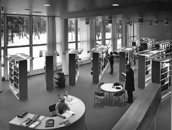The library hall in 1970s, Töölö Library
