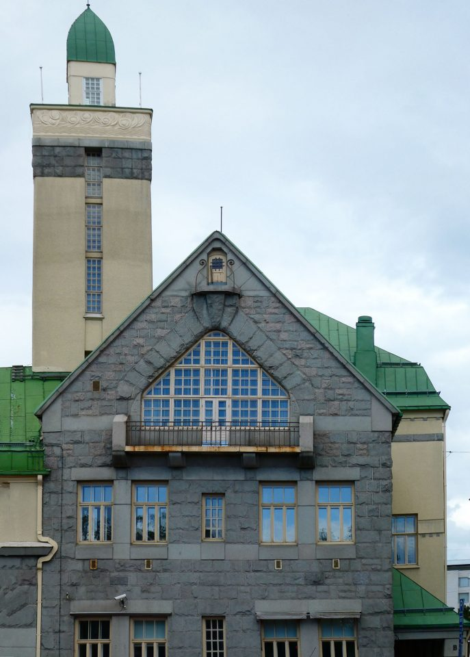 Main façade and the drying tower for the firehose, Tampere Central Fire Station