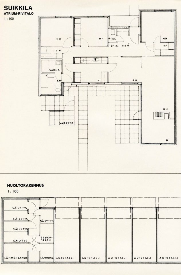 Floor plan of an atrium rowhouse, Suikkila Suburb