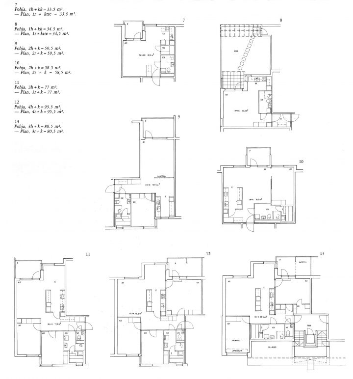 Floor plans, Haapapuistikko, Hämeenpuistikko and Vetehisenkuja 2 Housing