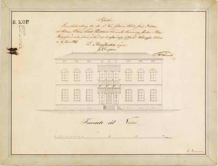 The elevation drawing of the Western façade by Ernst Lohrmann, Villa Hakasalmi