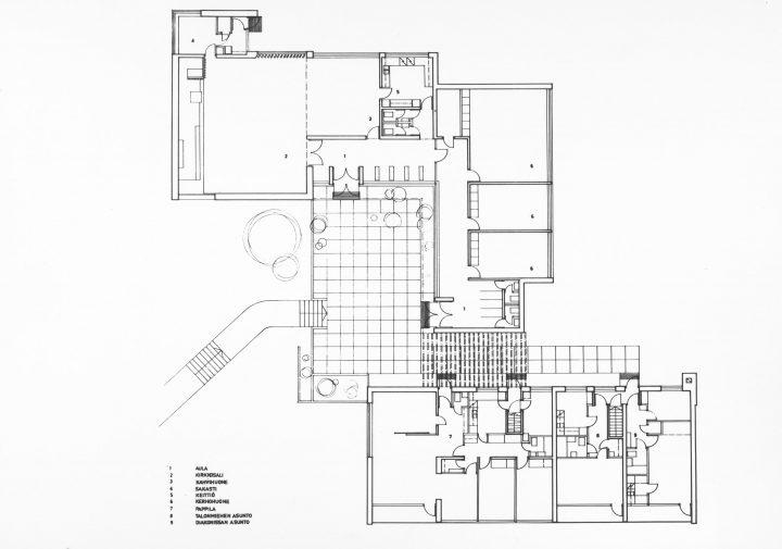 Floor plan, Hirvensalo Church and Parish Centre
