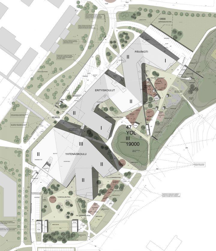 The site plan, Huhtasuo School Campus