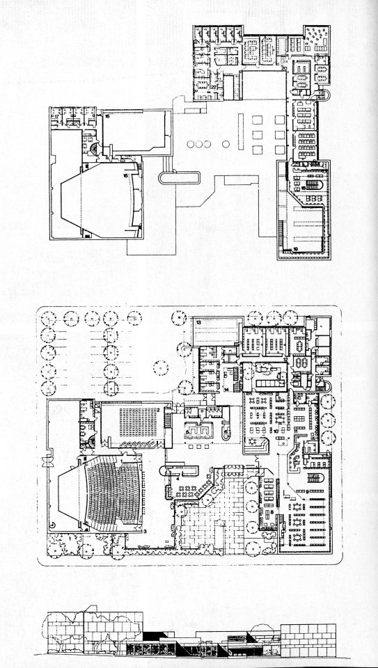 Floor plan and perspective plan, Iisalmi Cultural Centre